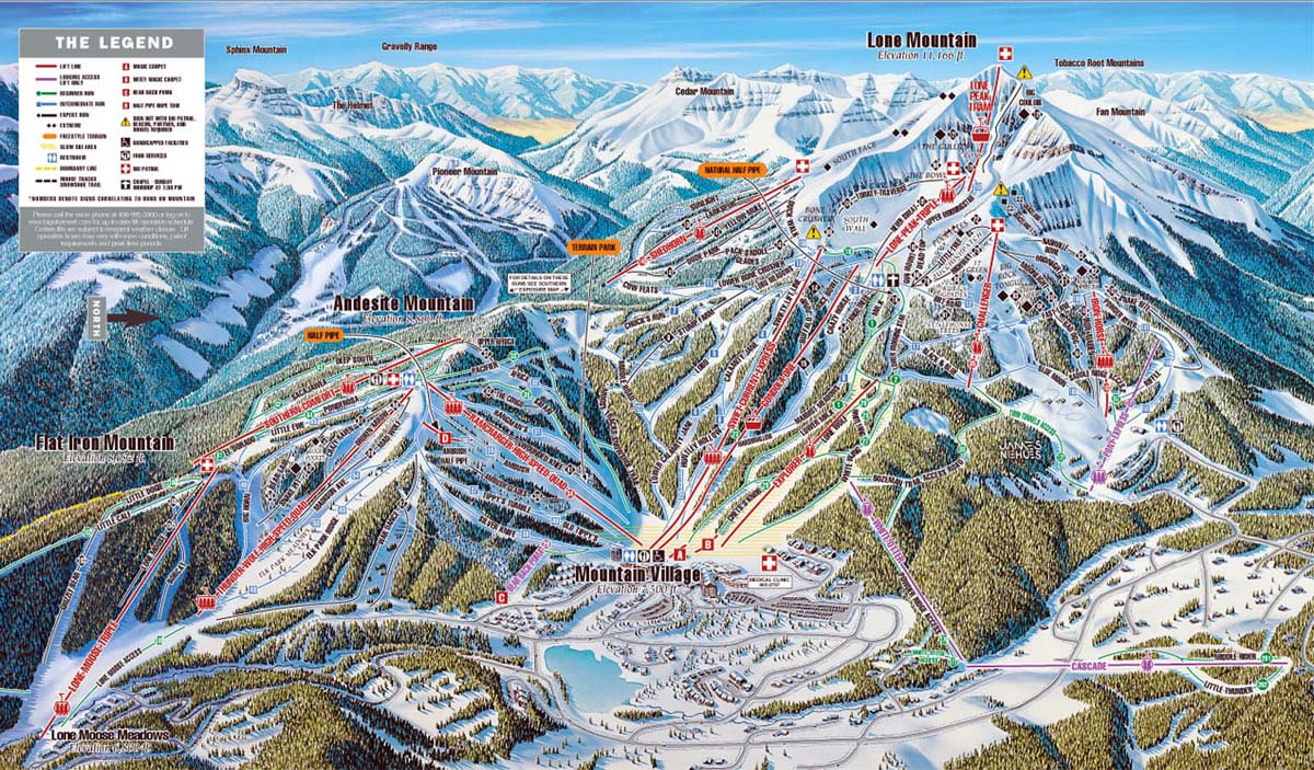 big sky skiing trail map